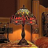 Gweat Tiffany de 12 pulgadas de la vendimia europea del estilo del vitral de la libélula y de la perla caliente con color Serie lámpara de mesa lámpara de escritorio de noche Luz