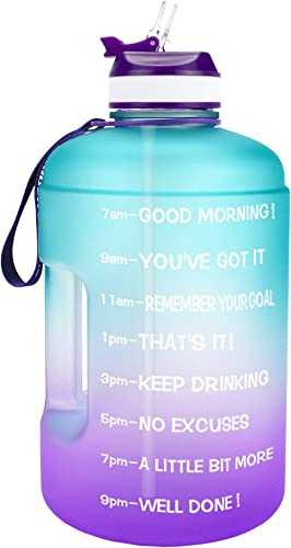 QuiFit Motivational Gallon Water Bottle - with Straw & Time Marker BPA Free Large Reusable Sport Water Jug with Handl...