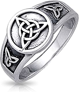 898d700a06b2f6 Viking Celtic Trinity Knot Triquetra Ring Signet Ring For Women For Men  Oxidized 925 Sterling Silver
