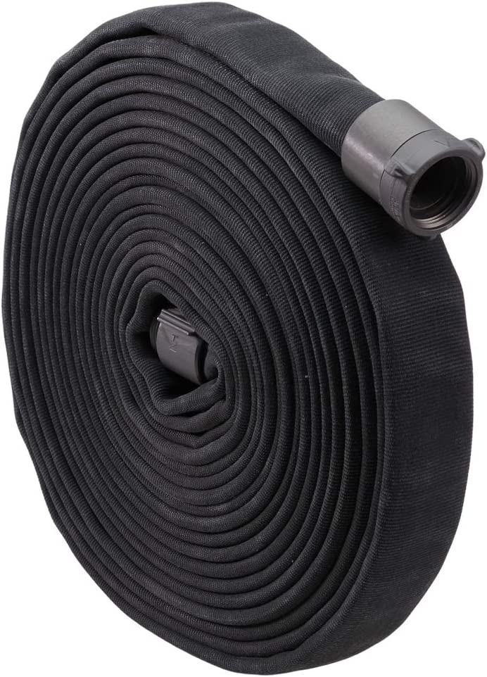 """Fire Hose - 1 1/2"""" x 50' Lay Flat Water Hose - Made in the USA - Black Firefighter Hose - NH Couplings : Patio, Lawn & Garden"""