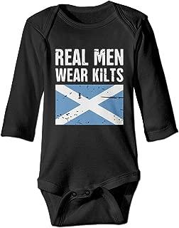 Newborn Infant Baby Boys Girls Scottish Flag Real Men Wear Kilts Long Sleeves Romper Jumpsuit Pajamas Outfit