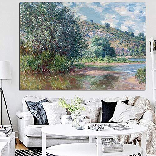 wZUN Impresión de HD Paisaje río Sena en el Puerto Paisaje impresionista Pintura al óleo Lienzo póster Cuadro de Pared 60x90 Sin Marco