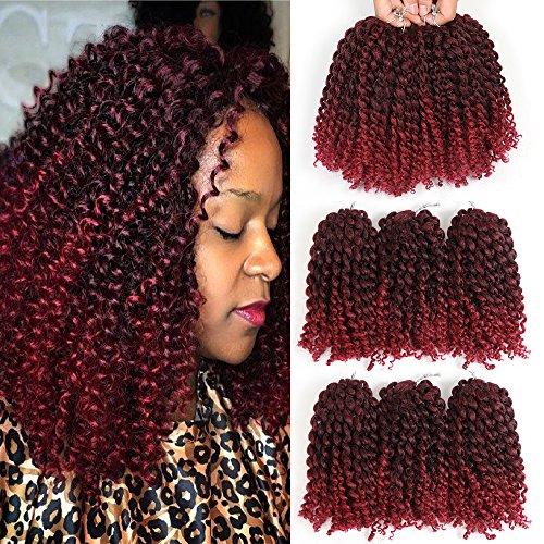 8 Inch Short Marlybob Crochet Hair 6 Small Bundles/Lot Kinky Curly Crochet Braids Ombre Braiding Hair Synthetic Hair Extension (1B/Burgundy)