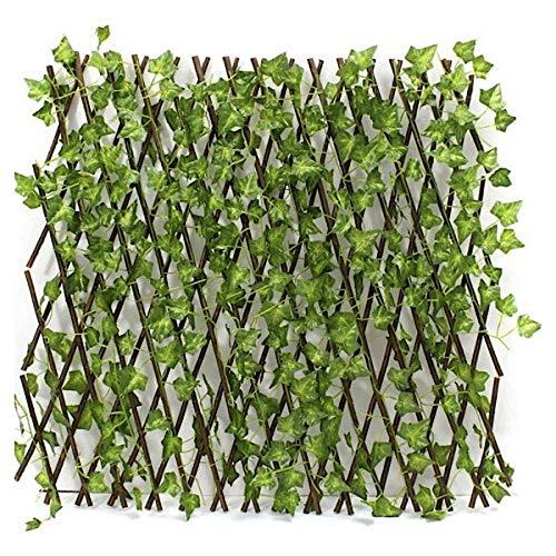 Bluebd Valla Extensible, seto, bambú con Hojas, Rejilla, protección Visual, jardín, Hiedra Artificial, Hojas, decoración, Fondo, 130 cm, expansión Ajustable