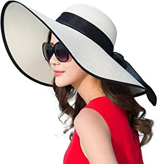 Hello2U Women's Big Brim Sun Hat Floppy Foldable Bowknot Straw Hat Summer Beachwear Cap, Khaki