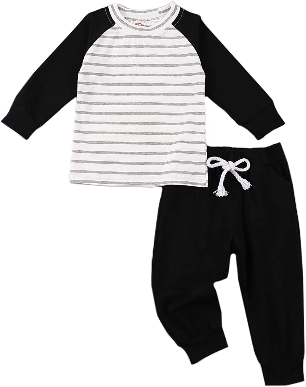 Baby Boy Clothes Stripe Long Sleeve T-Shirt Tops Solid Color Pants Winter Outfits Sets