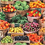 Baumwollstoff mit buntem Obst und Gemüse