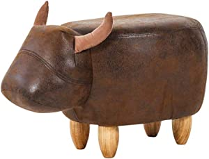 Bull Shaped Leather Round Ottoman,Nordic Cartoon Style Solid Wooden Stool Foot Rest Stool Children Chair seat for Living Room Sofa Coffee Table,603036cm