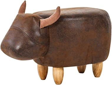 Bull Shaped Leather Round Ottoman,Nordic Cartoon Style Solid Wooden Stool Foot Rest Stool Children Chair seat for Living Room