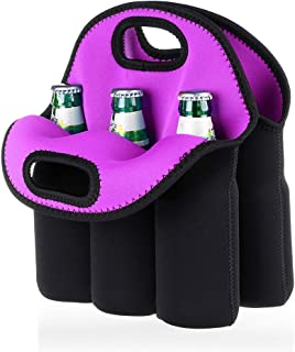Hipiwe 6 Pack Beer Cooler Tote Bag, Extra Thick Neoprene Beer Bottle/Can/Beverage Carrier, Insulated Baby Bottles Tote Sleeve