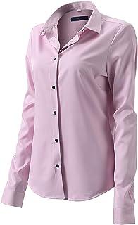 FLY HAWK - Camisas de vestir para mujer, ajustadas con botones, manga larga básica, fibra de bambú formal, casual