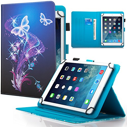 Dteck Schutzhülle für Samsung Tab 7 Zoll / LG G Pad 7.0 / RCA Voyager 7 Zoll / Android 7 / Fire 7 Tablet (violetter Schmetterling)