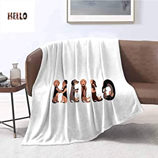 Luoiaax Dachshund Bedding Microfiber Blanket Dachshund Puppies Spelling The Word Hello Lovely Animal Font Design Super Soft and Comfortable Luxury Bed Blanket W91 x L60 Inch Brown Caramel Taupe