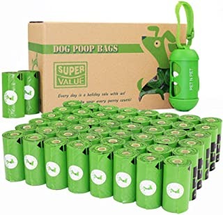 PET N PET 48 Rolls/720 Counts Environmental Friendly Dog Poop Bags Doggie Bags for Poop Unscented with One Dispenser, Standard and EPI Additive (Meets ASTM D6954-04 Tier 1)