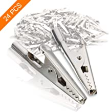 24Pcs 51mm Metal Alligator Clip Spring Clamps test line Crocodile Clip Silver Tone Alligator Clips Nickel Plated Crocodile Clamps, used in laboratory electric testing work and Cable Lead Clip