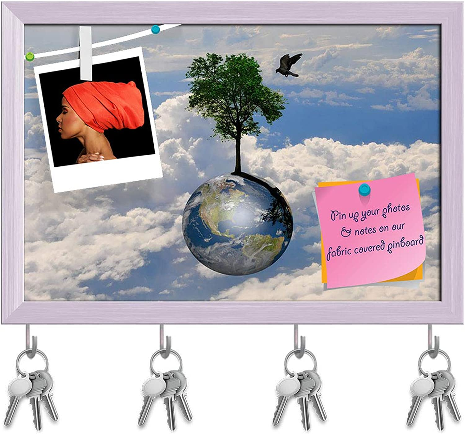 Artzfolio Earth Globe & Lonely Tree with Little Bird Key Holder Hooks   Notice Pin Board   White Frame 17.6 X 12Inch