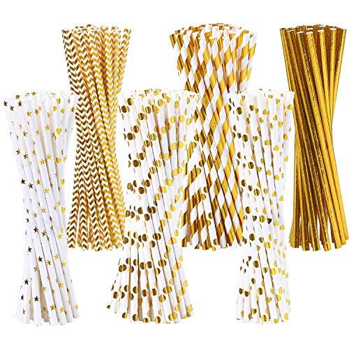 Tupa 200 cannucce di carta usa e getta in carta bianca e dorata, biodegradabili, a righe dorate e in carta massiccia, per feste, matrimoni, decorazioni, 6 stili