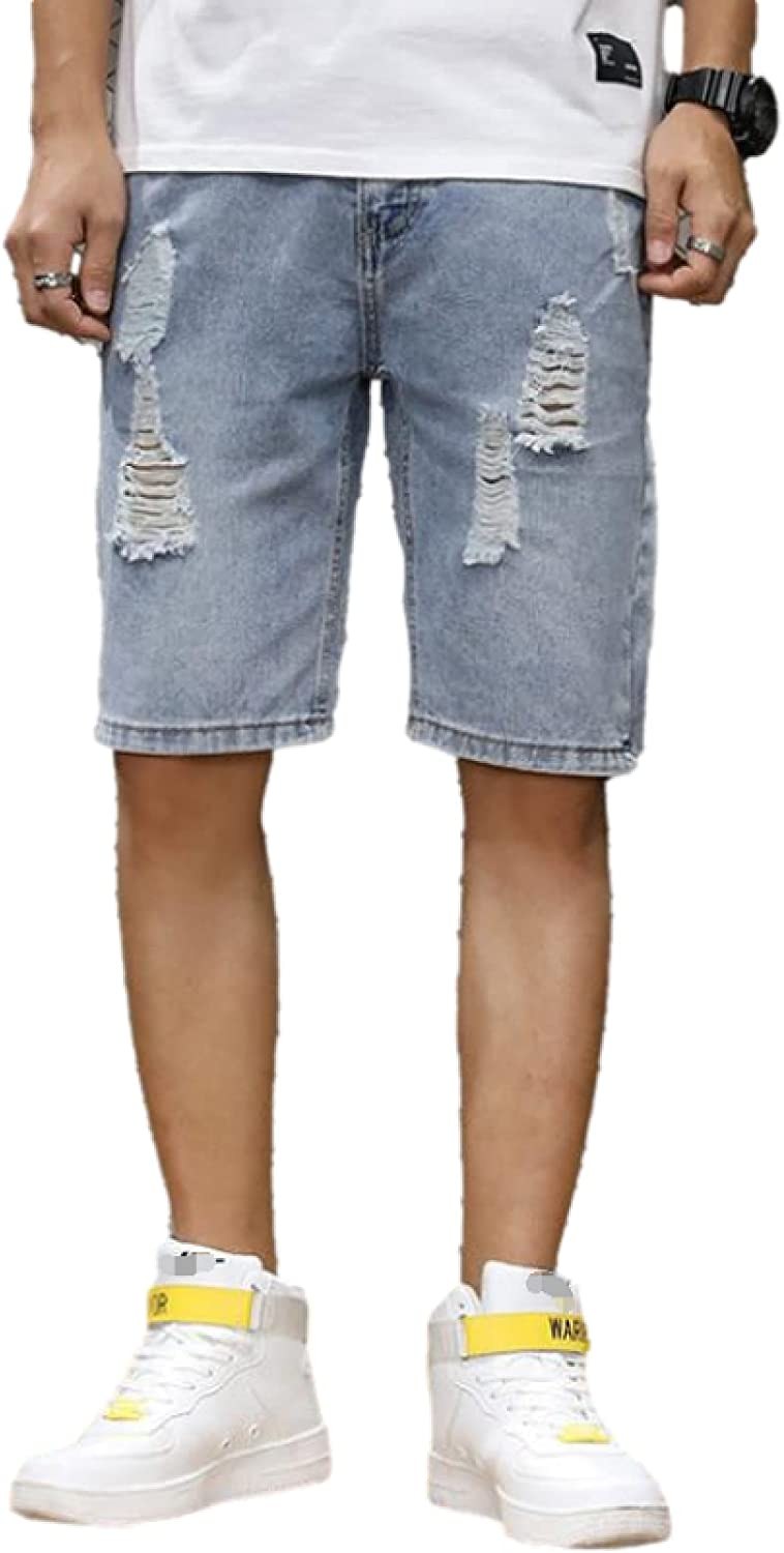 Wantess Men's Denim Shorts Summer Fashion Trend Ripped Holes Loose Comfortable Stretch