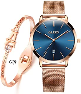 Ultra Thin Watches for Women with Bracelet Set, Ladies Slim Classic Casual Analog Date Wristwatch for Female Teens Waterproof Simple Dial with Stainless Steel Band Two Tone