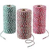 3 Rollos 984 Pies Totalmente Hilo de Algodón de Navidad Cuerda de Embalaje de Regalo Cordel de Panadería para Emvolver Regalo Materiales de Decoración de Navidad, 3 Colores
