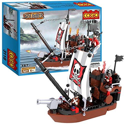 COGO Bateau pirate Sea Rover Jeu de construction de 167 pièces avec 3 différents pirates et cannon réglable 3118