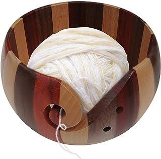 HIGHKAS Bol à Fil, Grand Bol à Tricoter en Bois, Grands Bols à Fil pour Projet de Crochet et de Tricot, Support de Boule d...