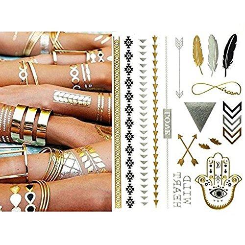 Miya® 1Stück Wild Style Metallic Tattoo, Flash Tattoos, temporär Tattoo, Gold Schwarz Silber farbig Schmuck Tattoo für Körper Finger Arme, Halskette Armband Flash Tattoos Body Tattoo, Form01