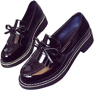 [WOOYOO] スリッポン レディース イングランド風 ローファー カジュアルシューズ ローカット 大きいサイズ フリンジ付き 可愛い おしゃれ 履きやすい 軽量 歩きやすい スクエアヒール 通勤 通学 美脚 身長アップ(4cm) 黒