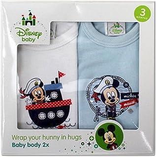 Lot de 2 bodies Disney Mickey Mouse à manches courtes pour garçon - 100 % coton - Bleu et blanc