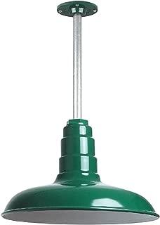The Malibu Modern Farmhouse Pendant Light | Steel Barn Light with Rigid Stem for Ceiling | Heavy Duty Steel Light | Made in America (Green)