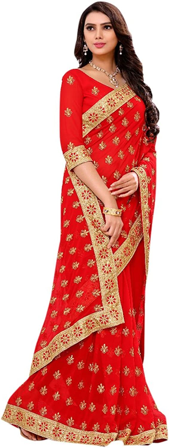 Designer Bollywood Bridal Red Saree Sari for Women Latest Indian Ethnic Wedding Collection Blouse Party Wear Festive Ceremony 2621 4