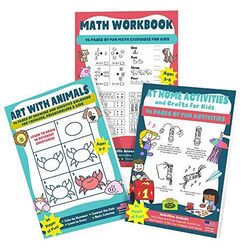 Kid's Coloring Book, Math Workbook & Homeschool Activities & Crafts for Children