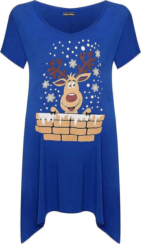 F4S/® Womens Plus Size Short Sleeve Reindeer Snowflake Hanky Hem Xmas Long Top Ladies T-Shirt 14-28