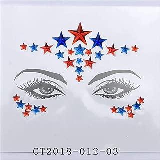 Star Face Gemstone Gem Face Temporal Tattoo Music Festival Face Brow Sticker Body Sticker 6 Piezas