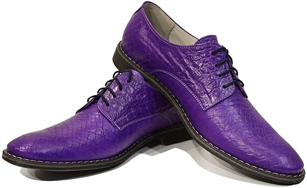 Modello Vitale - Handmade Italian Mens Color Purple Oxfords Dress Shoes - Cowhide Embossed Leather - Lace-Up