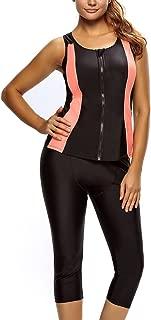 Anzona Women's Color Block Zipper Front Two Pieces Set Tankini Surfing Swim Suit Plus Size Swimsuit
