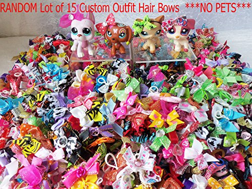 Littlest Pet Shop Clothes LPS Accessories RANDOM Lot of 15 Custom Outfit Hair BowsPETS NOT INCLUDED