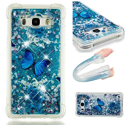 HopMore Compatible con Funda Samsung Galaxy J5 2016 Silicona 3D Glitter Liquido Brillante Purpurina Transparente Carcasa Resistente Case Cover Antigolpes para Mujer Niña - Mariposa Azul