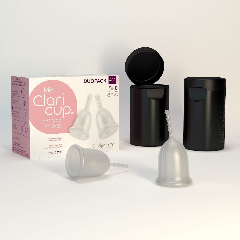 Claripharm - Copa Menstrual transparente para transporte y esterilización (tamaño 3, 2 unidades)