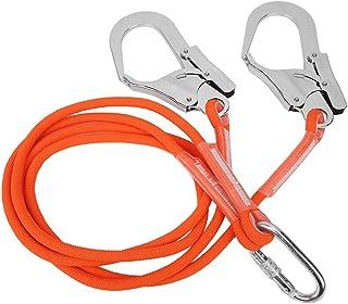 安全帯 安全ロープ エアコン 高強度 電気 土木工事 伐採 高所作業 落下防止 補助 安全確保 二つフック付1.6mラン