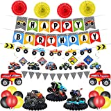 Monster Truck Birthday Party Supplies Monster Truck Birthday Banner Triangle Bunting Monster Truck Hanging Swirls Truck Shape Balloons Multicolor Balloons Truck Honeycomb Table Centerpieces Paper Fans