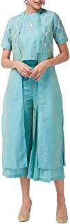 Pannkh Fusion - Set da donna con top e pantaloni plissettati con giacca ricamata
