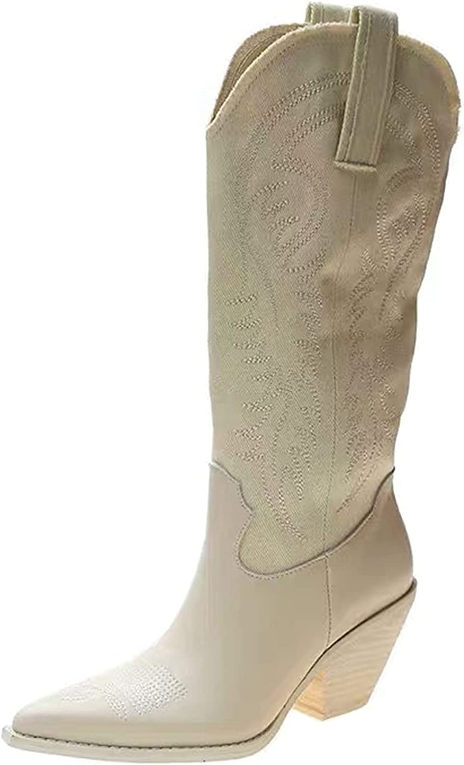 VOMIRA Women's Max 89% OFF Cowgirl Mid Calf Chunky Vintage Boots Lowest price challenge Toe Pointed