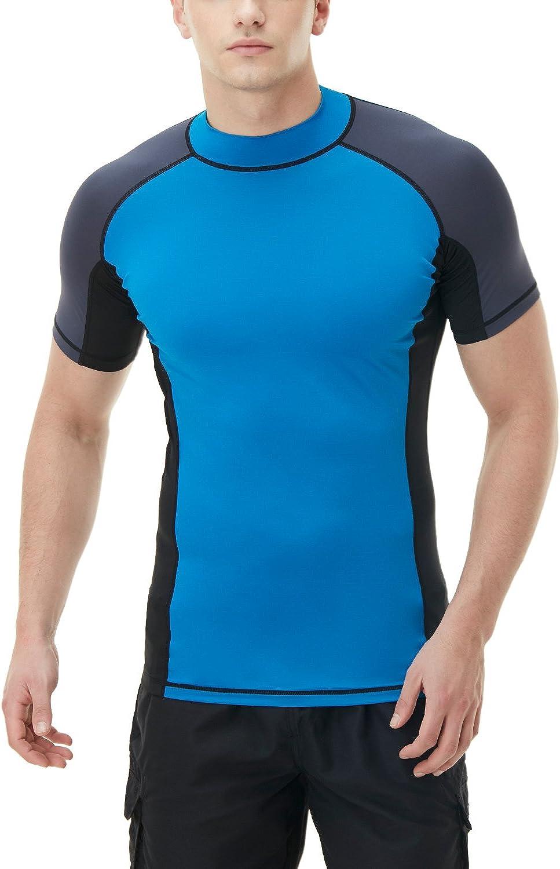 TSLA Men's Rash Guard Swim Shirts, UPF 50+ Quick Dry Mid/Short Sleeve Swimming Shirt, UV/SPF Water Surf Shirts
