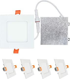 OSTWIN (4 Pack) 4 inch 9W (45 Watt Repl.) IC Rated LED Recessed Low Profile Slim Square Panel Light with Junction Box, Dimmable, 4000K Bright Light 630 Lm. No Can Needed ETL & Energy Star Listed