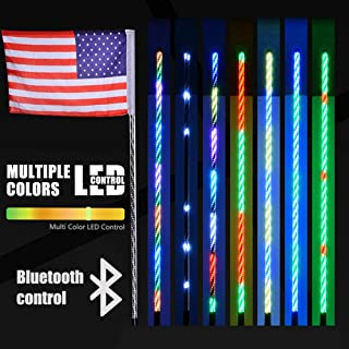 AL4X4 4FT LED Whip Lights 360°Spiraling Rising Dream Wrapped Dancing Whips Bluetooth Controlled with Music Mode for Polaris RZR ATV Antenna Whip UTV Quad Sand Dune Buggy Flag Poles(One Whip)