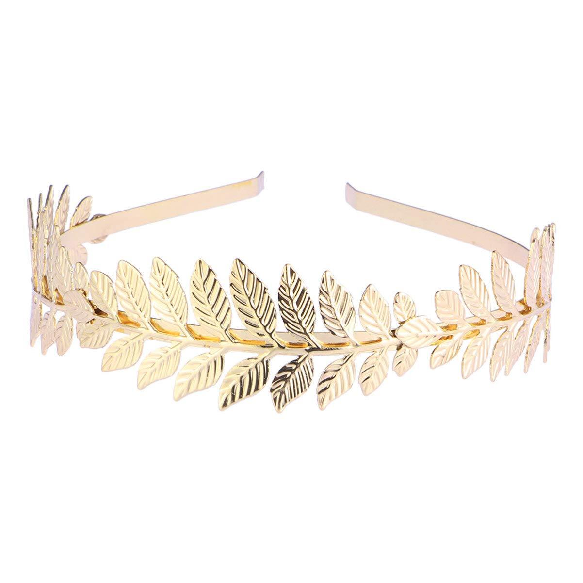 Lurrose Goddess Leaf Headband Roman Goddess Headband Golden Laurel Leaves Crown Bridal Wedding Headpiece for Women Girls
