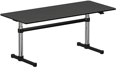 USM Haller USM Kitos M Schreibtisch höhenverstellbar, Nero schwarz Linoleum höhenverstellbar H: 70-120cm