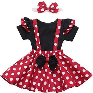 IBTOM CASTLE Baby Mädchen Kleider My 1st Birthday 1 Geburtstag Party Baby Minnie Maus Polka Dot Prinzessin Outfit 3 Stücke Outfits Strampler Tops Rock Stirnband