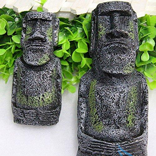 Changlesu 2 STÜCKE Alten Ostern Insel Kopf Statue Porträt Aquarium Ornament Home Desktop Dekoration Zubehör